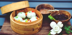 Spinach and Corn Dim sums
